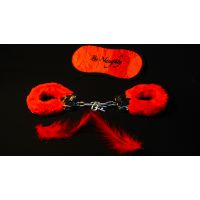 Набор меховые красные наручники маска и перышко Fantasy 3 в 1
