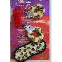 Набор леопардовые меховые наручники маска для глаз и перышко  Fantasy 3 в 1
