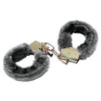 Наручники меховые сувенирные черного цвета с двумя ключами