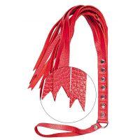 Флоггер плеть с гладкими хвостиками sLash S&M Fancy Leather Floger красная