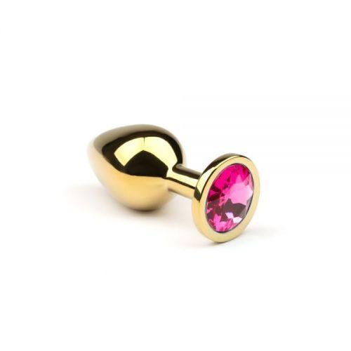 Металлическая анальная пробка с розовым кристаллом размер M Gold Pink-Rhodolite CRYSTAL