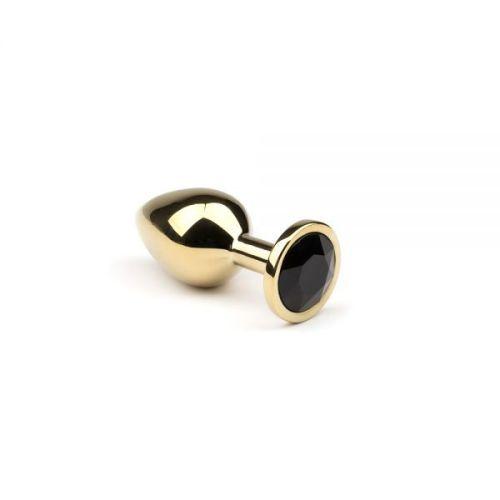 Металлическая золотая анальная пробка с черным кристаллом размер S Gold Black DiamondCRYSTAL
