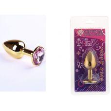 Анальная пробка золотая sLash с розовым кристаллом размер S