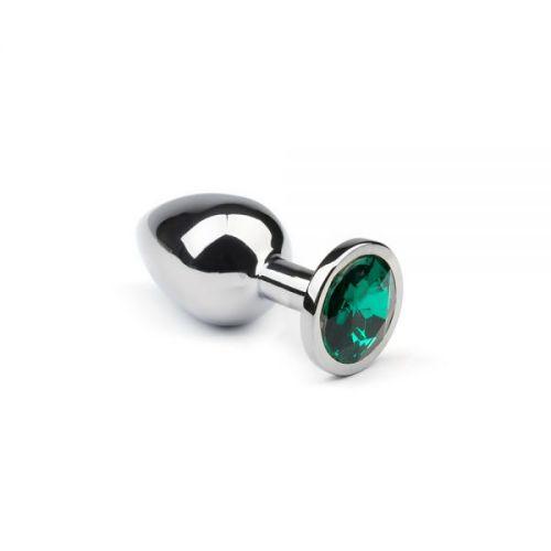 Анальная пробка со стразом Silver Emerald  размер: М CRYSTAL