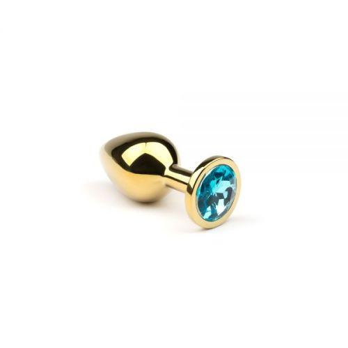 Анальная пробка золотистая с голубым кристаллом из металла размер: S