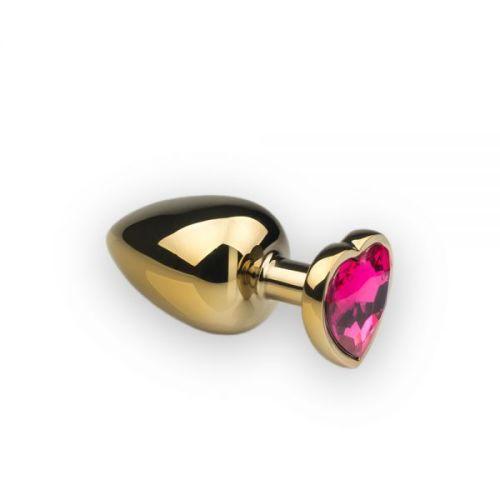Металлическая анальная пробка с розовым кристаллом в виде сердца размер L Gold Heart Pink-Rhodolite CRYSTAL