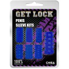 Набор из 7 открытых насадок синих Penis Sleeve Kits