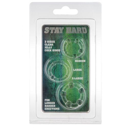 Набор из 3 шт эрекционных колец без вибрации белые STAY HARD - Three Rings Clear