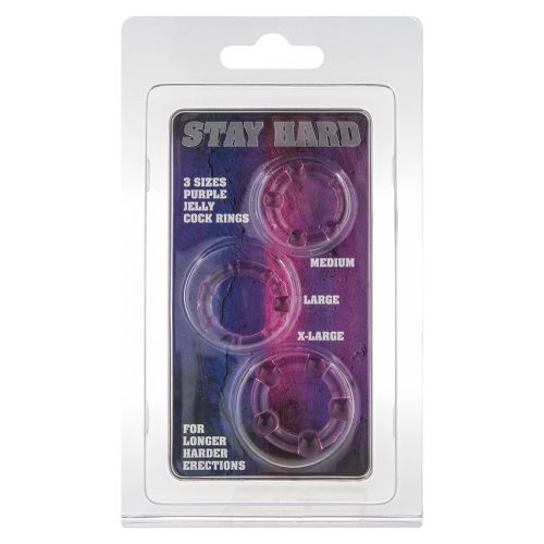 Набор из 3 шт эрекционных колец без вибрации фиолетовые STAY HARD - Three Rings Purple
