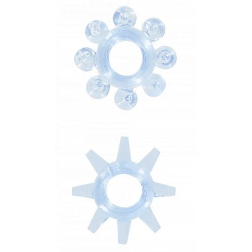 Набор из 2 шт эрекционных колец на пенис голубой без вибрации Power stretchy Rings Blue