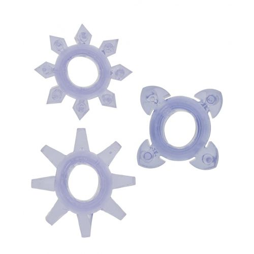 Набор колец из 3 эрекционных колец на пенис без вибрации TICKLE C-RINGS PURPLE