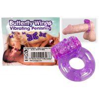 Эрекционное кольцо с вибрацией и массажем клитора Butterfly wings универсального размера