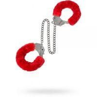 Оковы с мехом для БДСМ красные Metal Ankle Cuffs