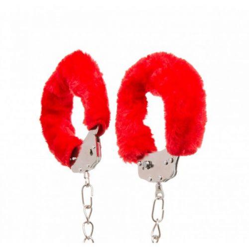 Металлические оковы с мехом для БДСМ красные Ankle Cuffs