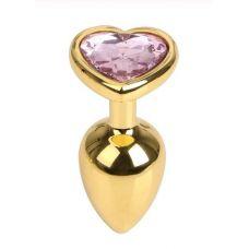 Анальная пробка золотистого цвета с розовым камнем в виде сердечкапробкаM