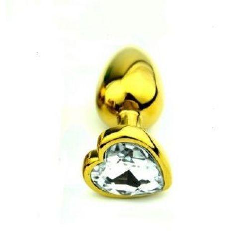 Анальнаяпробка золотого цвета с кристаллом S