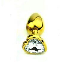 Анальнаяпробка золотого цвета с кристаллом M