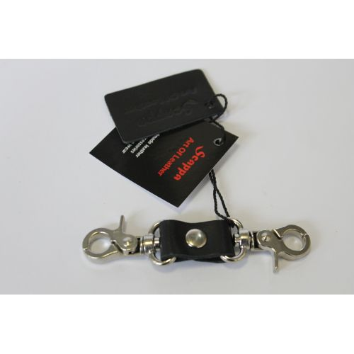 Коннектор с 2 карабинами для фиксации БДСМ из натуральной кожи Scappa