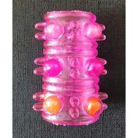 Насадка на пенис тунель с шариками розовая LYBAILE