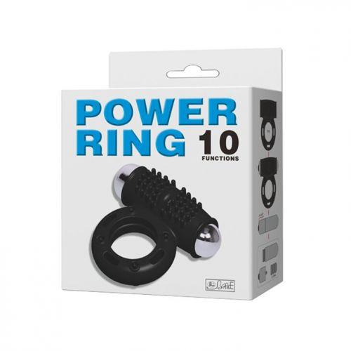 Вибро кольцо эрекционное 2,5 см Power ring 10 режимов вибрации из киберкожи