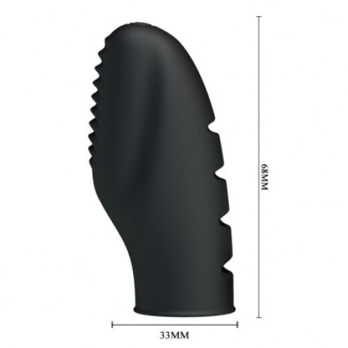 Насадка на палец ребристая с вибрацией для клитора и сосков силиконовая STANFORD