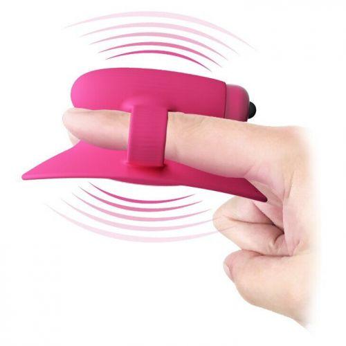 Клиторальный стимулятор на палец красный из силикона Pretty Love Nelly