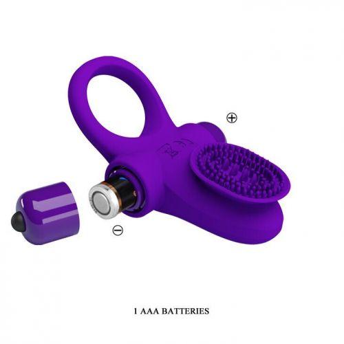 Кольцо эрекционное с вибро-стимуляцией клитора Pretty Love Vibrant penis ring II BI-210205-1