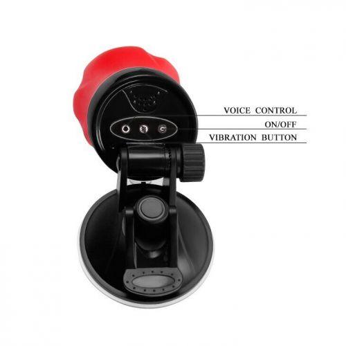 Вагина-мастурбатор на присоске с вибрацией с звуковым сопровождением FLORA BM-00900T47S