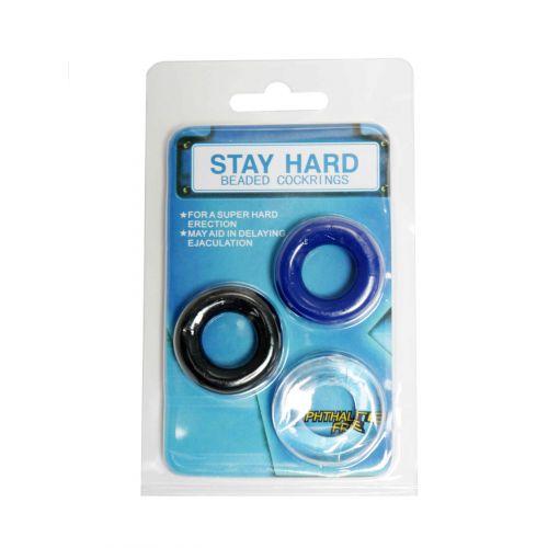 Набор из 3 силиконовых эрекционных колец белый синий черный STAY HARD