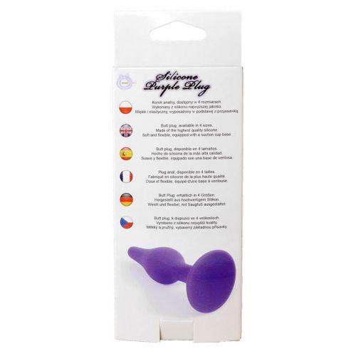 Анальный плаг на присоске фиолетовый силиконовый - большой