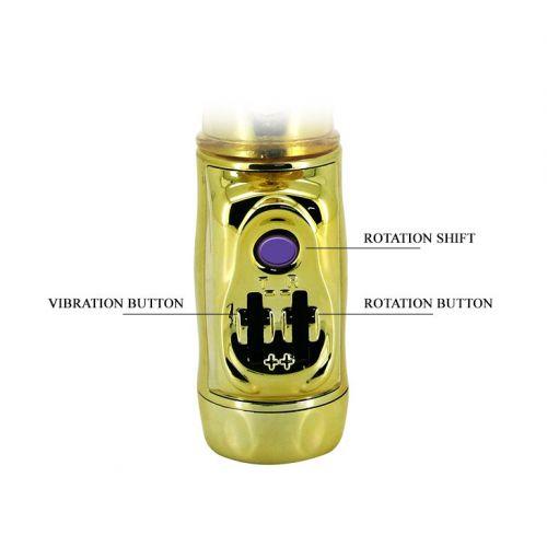 Вибратор с стимулятором клитора и вращающейся головкой U.S. Gold Lover BW-037203J