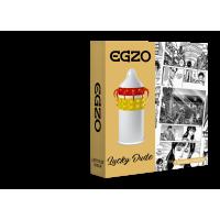 Насадка на пенис латексная двойная полоска шариков и усиков одноразовая EGZO Lucky Dude 1 шт Максимум Удовольствия со смазкой