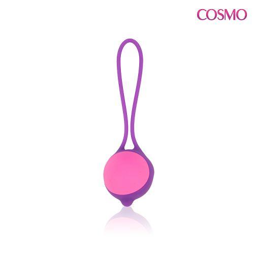 Шарик вагинальный силиконовый для мышц Кегеля с хвостиком COSMO фиолетовый D 3,4 см L 11,5 см