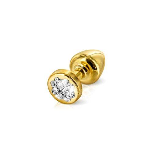 Анальная пробка со стразом Diogol Anni R Clover Gold Кристалл 25мм