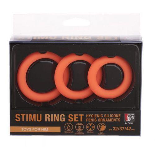 Набор эрекционных колец NEON STIMU RING SET ORANGE
