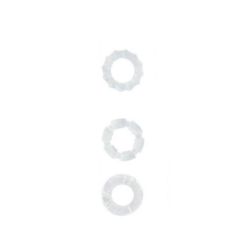 Набор эрекционных колец для мужчин белые MENZSTUFF STRETCHY COCK RINGS