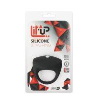Эрекционное кольцо для пениса с вибростимуляции клитора черное LIT-UP SILICONE STIMU RING 8