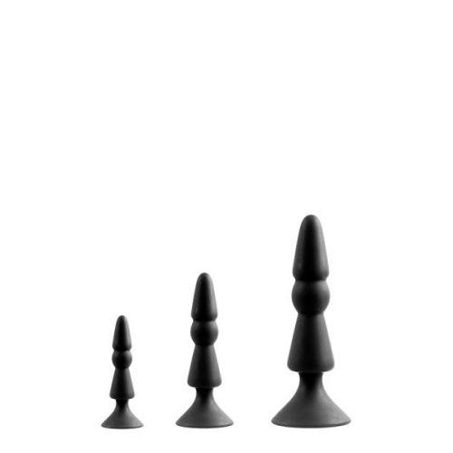 Набор анальных плагов конусные черные MENZSTUFF 3-PIECE