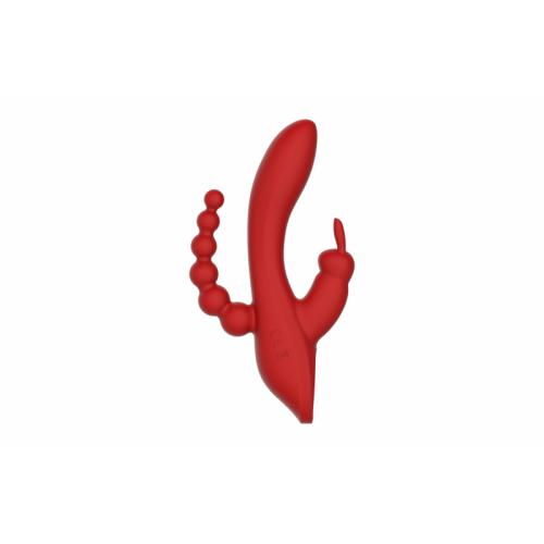 Вибромассажер кролик со стимуляцией клитора и точки G RED REVOLUTION HERA