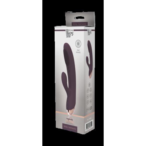 Вибромассажер-кролик с отростком для клитора чёрный ROYAL FANTASIES CASTALIA