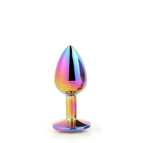 Анальная пробка радужная с радужным камнем 8,3 х 3,4 см Dream Toys Gleming Love