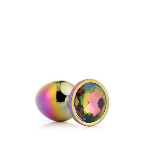 Анальная пробка радужная с радужным камнем 9,5 х 4,3 см Dream Toys Gleming Love