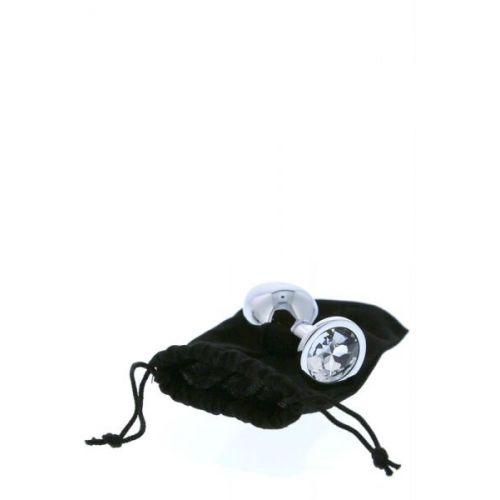 Анальная пробка серебристая с бесцветным камнем 9,5 х 4,3 см Dream Toys Gleming Love