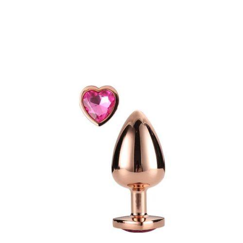 Анальная пробка золотистая с розовым камнем в виде сердечка 9,5 х 4,3 см Dream Toys Gleming Love