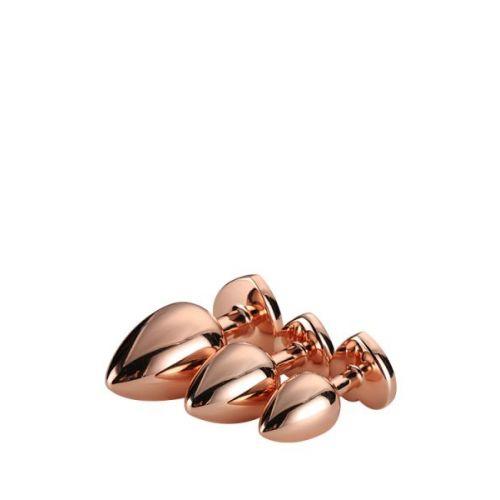 Набор золотистых анальных пробок с розовым камнем в виде сердечка Dream Toys Gleming Love