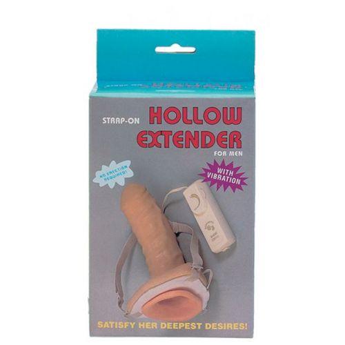 Страпон мужской полый с поясом Vibrating Hollow Extender Strap-On.