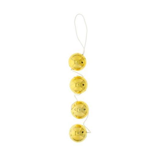 Вагинальные шарики 4 шт золотистые с вибрацией Seven Creations