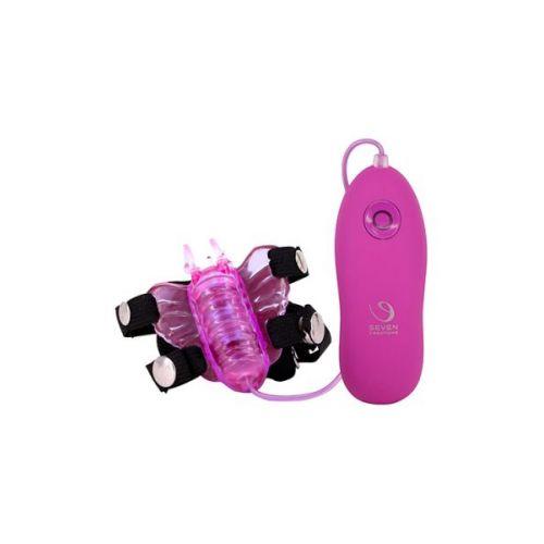 Вибромассажер клиторальный в виде бабочки с пультом управления фиолетовый BUTTERFLY STIMULATOR PURPLE