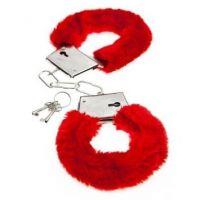 Наручники для секса меховые красные Plush Handcuffs