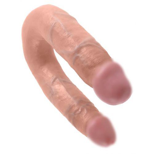 Фаллоимитатор 35 см/3,3-3 см реалистичный для двойной стимуляции виниловый King Cock U-Shaped Medium Double Trouble